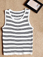 Women's Going out Simple Tank Top,Solid Striped Round Neck Sleeveless Cotton