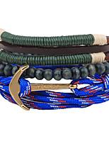 Homens Enrole Pulseiras Pulseiras Strand Ajustável Personalizado Confeccionada à Mão Estilo Boêmio Madeira Forma Redonda Jóias Para