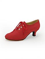 Women's Modern Flocking Heel Outdoor Cuban Heel Red Black