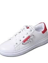 Для женщин Кеды Удобная обувь Осень Полиуретан Для праздника Шнуровка На плоской подошве Черный Красный Зеленый 4,5 - 7 см