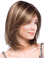 Women Synthetic Wig Capless Medium Straight Brown Highlighted/Balayage Hair Natural Wigs Costume Wigss