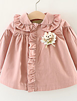 Girls' Solid Trench Coat,Cotton Long Sleeve