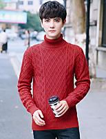 Для мужчин На каждый день Обычный Пуловер Однотонный,Хомут Длинный рукав Хлопок Осень Зима Средняя Слабоэластичная