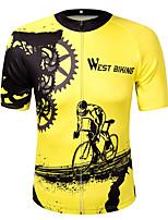 West biking Велокофты Универсальные С короткими рукавами Велоспорт Толстовка Джерси Верхняя часть Светоотражающая лента Быстровысыхающий