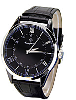Men's Women's Fashion Watch Chinese Quartz Leather Band Casual Black