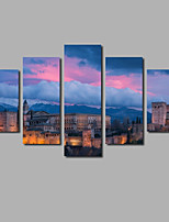 Inspiring Quotes Sunset Scenery 5 Panels Framed Painting Printed on Canvas For Livingroom Decor Posters Lettering Art Posters & Prints