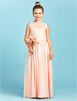 A-Line Princess Jewel Neck Floor Length Lace Tulle Junior Bridesmaid Dress with Appliques Pleats by LAN TING BRIDE®