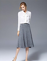 Damen Solide Niedlich Street Schick Arbeit Ausgehen Bluse,V-Ausschnitt Langarm Polyester