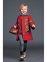 Девочки Тренч Полиэстер Цветочный принт Осень Длинный рукав