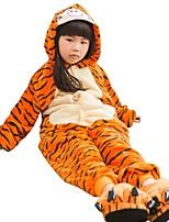 Кигуруми Пижамы Tiger трико/Комбинезон-пижама Туфли Фестиваль / праздник Нижнее и ночное белье животных Хэллоуин Мода Однотонные Вышивка