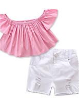 Ensembles Fille Couleur Pleine Coton Polyester Eté Pantalon court Ensemble de Vêtements