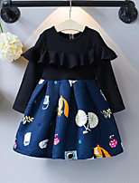 Girl's Casual/Daily Patchwork Cartoon Dress,Rayon Polyester Spring Fall Long Sleeve