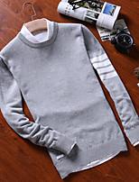Для мужчин На каждый день Обычный Пуловер Однотонный Полоски,Круглый вырез Длинный рукав Хлопок Осень Зима Средняя Слабоэластичная