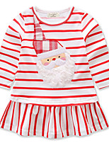 Girl's Birthday Casual/Daily Going out Striped Cartoon Dress,Cotton Spring Fall Long Sleeve
