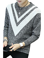 Men's Plus Size Casual/Daily Simple Cute Street chic Regular Pullover,Solid Striped Print Round Neck Long Sleeves Cotton Polyester Fall