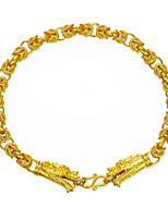 Men's Chain Bracelet Animal Design Hip-Hop Gold Plated Animal Shape Dragon Jewelry For Club Street