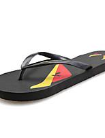 Для женщин Тапочки и Шлепанцы Удобная обувь Лето Полиуретан Повседневные На плоской подошве Черный Темно-синий Желтый Красный На плоской