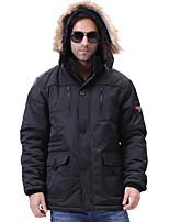 Пальто Простое Обычная На подкладке Для мужчин,Однотонный Большие размеры Полиэстер Хлопок,Длинный рукав