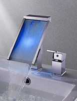 Contemporary Widespread Waterfall Color-Changing with  Ceramic Valve Single Handle Two Holes for  Chrome , Bathroom Sink Faucet