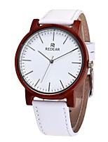 Муж. Жен. Модные часы Часы Дерево Японский Кварцевый деревянный Натуральная кожа Группа С подвесками Повседневная Белый