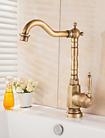 Antique Vessel Rotatable with  Ceramic Valve Antique Brass , Kitchen faucet
