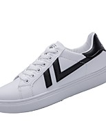 Women's Sneakers Comfort Spring Fall PU Athletic Lace-up Flat Heel White/Blue Black/White White Flat