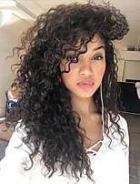 жен. Парики из натуральных волос на кружевной основе Бразильские волосы Натуральные волосы 360 Лобовой 130% плотность С пушком Кудрявые