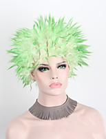 Women Synthetic Wig Capless Short Wavy Green Party Wig Halloween Wig Cosplay Wigs Costume Wigs
