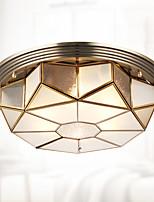 120 vatios de europa tipo lámpara de cobre sala de estar dormitorio lámpara luz rural cúpula luz circular cúpula luz americana creativo