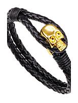 Муж. Кожаные браслеты Хип-хоп Rock Кожа Сплав Круглой формы В форме черепа Бижутерия Назначение Halloween Для сцены