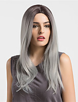 Women Synthetic Wig Capless Long Straight Natural Wave Black/Grey Ombre Hair Dark Roots Natural Wigs Costume Wigss