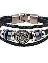 Men's Leather Bracelet Vintage Personalized Leather Alloy Round Flower Jewelry For Casual Club