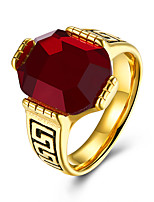 Men's Band Rings Ruby Fashion Stainless Steel Round Jewelry For Party Daily