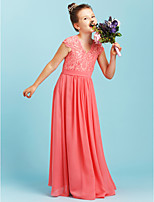 A-Line Princess V-neck Floor Length Chiffon Lace Junior Bridesmaid Dress with Sash / Ribbon Pleats by LAN TING BRIDE®