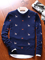 Men's Casual/Daily Regular Pullover,Solid Striped Round Neck Long Sleeves Cotton Fall Winter Medium Micro-elastic