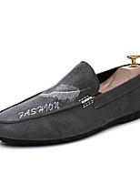 Hombre Zapatos de taco bajo y Slip-On Confort Primavera Otoño Semicuero Casual Flor Tacón Plano Negro Gris Plano