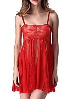 Жен. Кружевное белье Ультра-секси Ночное белье Однотонный Полиэстер