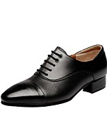 Men's Latin Real Leather Oxford Outdoor Chunky Heel Black 1