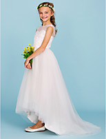 Ball Gown Crew Neck Asymmetrical Tulle Junior Bridesmaid Dress with Beading by LAN TING BRIDE®