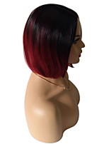 Women Synthetic Wig Capless Medium Straight Black/Dark Wine Ombre Hair Dark Roots Celebrity Wig Costume Wigs