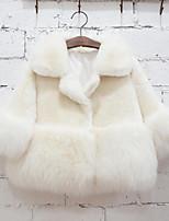 Девочки Куртка / пальто Искусственный мех Мех особого типа Однотонный Зима Длинный рукав