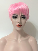 Women Synthetic Wig Capless Short Straight Pink Natural Hairline Silk Base Hair Pixie Cut Asymmetrical Haircut Party Wig Celebrity Wig