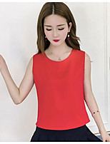 Women's Going out Street chic Tank Top,Solid Round Neck Sleeveless Others