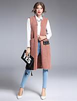Для женщин На выход На каждый день Офис Простое Уличный стиль Изысканный Длинный Кардиган Однотонный,V-образный вырез Без рукавов Шерсть
