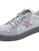 Women's Sneakers Comfort Fall PU Dress Lace-up Flat Heel Sliver White 2in-2 3/4in
