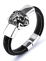 Муж. Кожаные браслеты Хип-хоп Rock Кожа Титановая сталь В форме животных Лев Бижутерия Назначение Для вечеринок День рождения