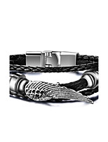 Men's Women's Leather Bracelet Hip-Hop Rock Leather Titanium Steel Wings / Feather Jewelry For Party Birthday Gift Evening Party