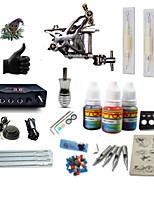 kits de tatouage pour débutants 1 x Machine à tatouer en acier pour le traçage et l'ombrage LCD alimentation 5 x Aiguilles de tatouage RL