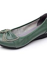 Для женщин На плокой подошве Удобная обувь Весна Лето Кожа Повседневные Черный Оранжевый Светло-Зеленый На плоской подошве