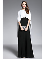Sheath / Column Jewel Neck Floor Length Spandex Mother of the Bride Dress with Buttons